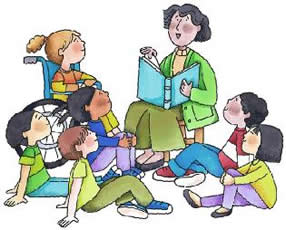 Image of adult reading to children